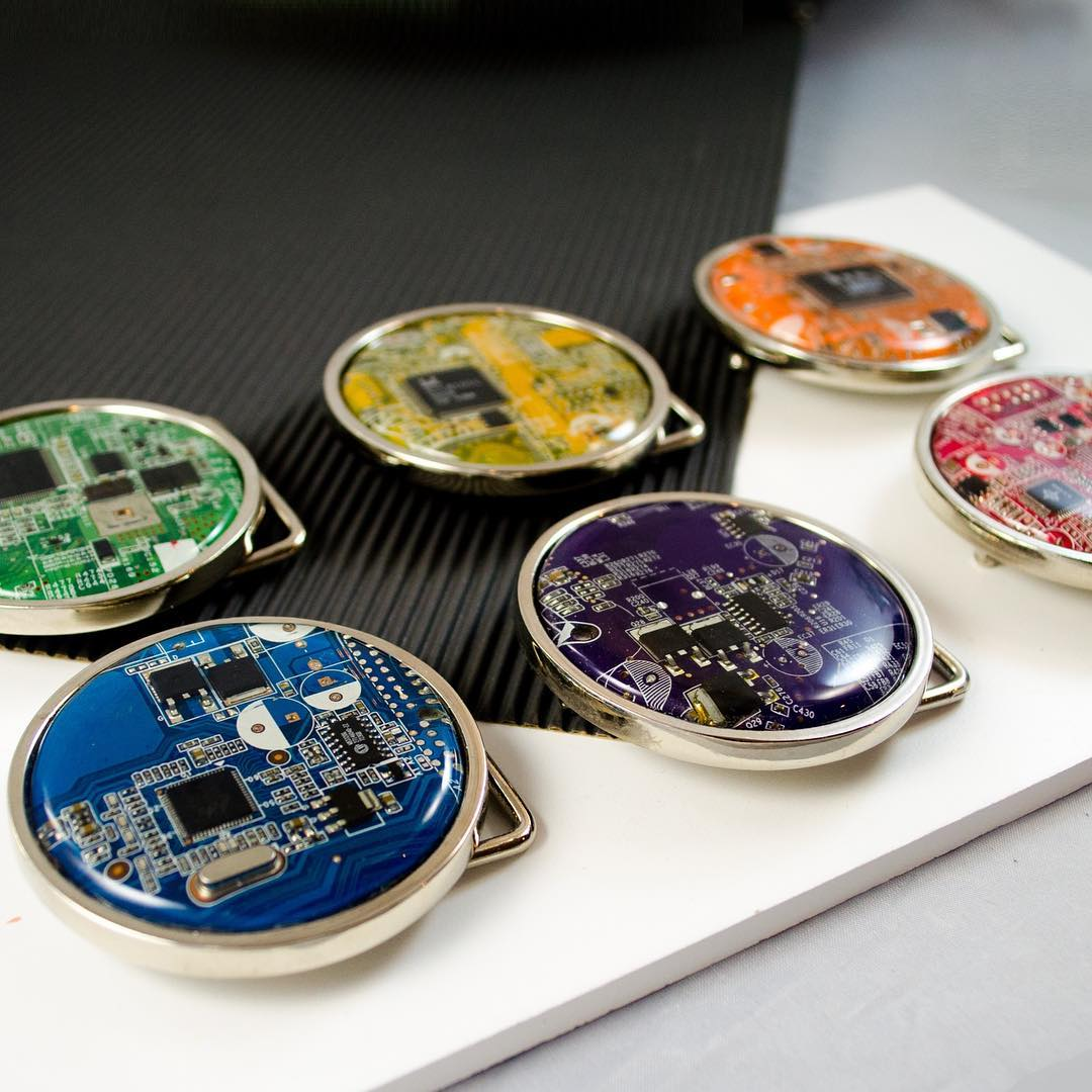 Old electronics belt buckles