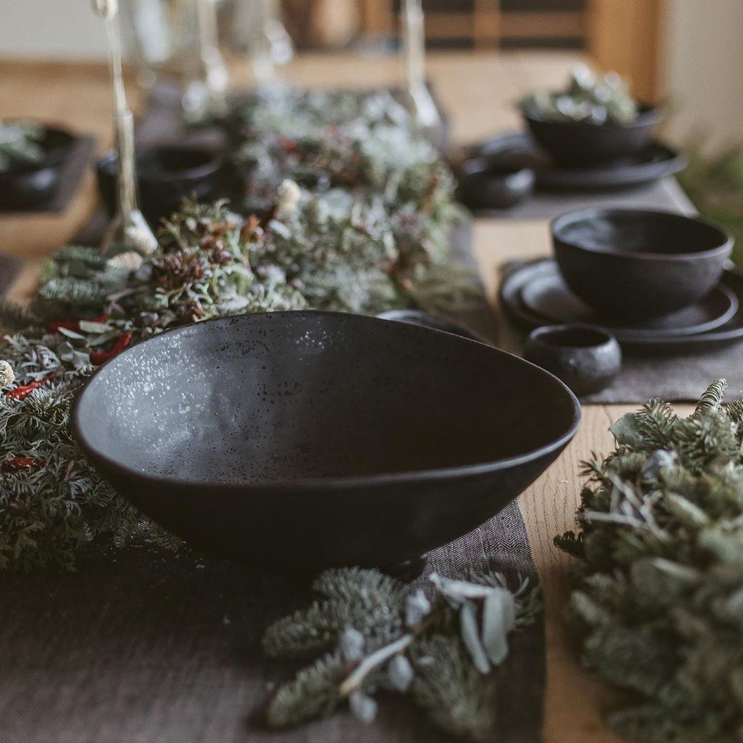 Black handmade ceramic bowl