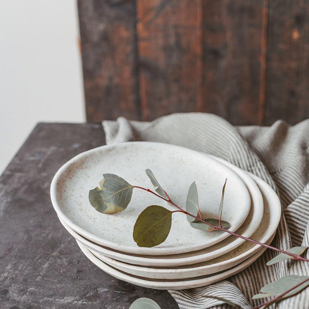 White handmade ceramic dish