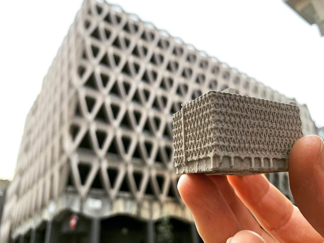mini concrete replica of Welbeck car park in London by spaceplay