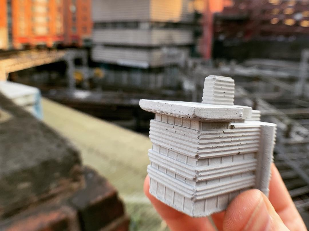 mini concrete replica of New Street signal box in Birmingham by spaceplay