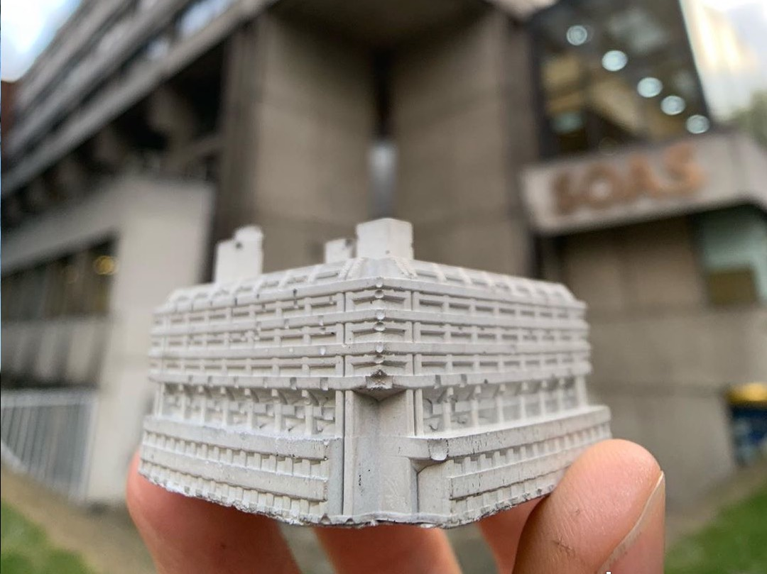 mini concrete replica of SOAS Library in London by spaceplay